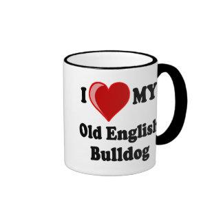 Amo (corazón) mi perro inglés viejo del dogo taza de dos colores