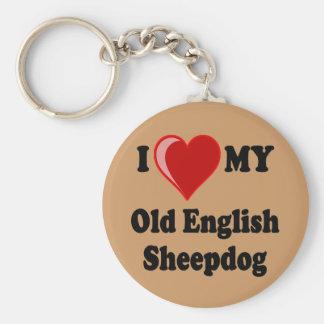 Amo (corazón) mi perro inglés viejo del perro past llavero redondo tipo pin