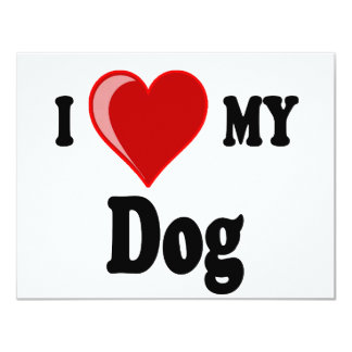 Amo (corazón) mi perro invitación 10,8 x 13,9 cm