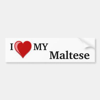 Amo (corazón) mi perro maltés pegatina para auto