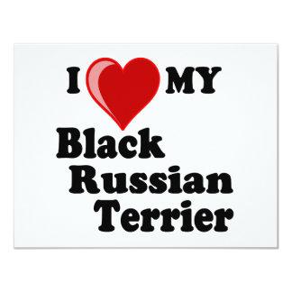 """Amo (corazón) mi perro negro de Terrier del ruso Invitación 4.25"""" X 5.5"""""""