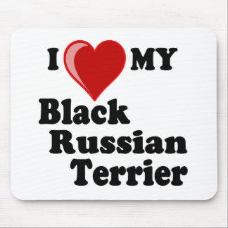 Amo (corazón) mi perro negro de Terrier del ruso Mouse Pads