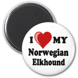 Amo (corazón) mi perro noruego de Elkhound Imanes De Nevera