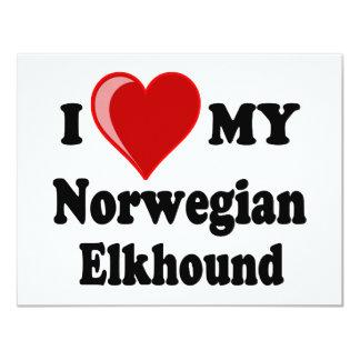 Amo (corazón) mi perro noruego de Elkhound Comunicado Personalizado