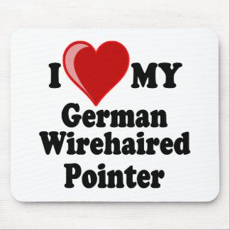Amo (corazón) mi perro Wirehaired alemán del indic Tapetes De Ratón
