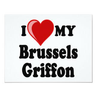 Amo (corazón) mi postal del perro de Bruselas Invitación 10,8 X 13,9 Cm