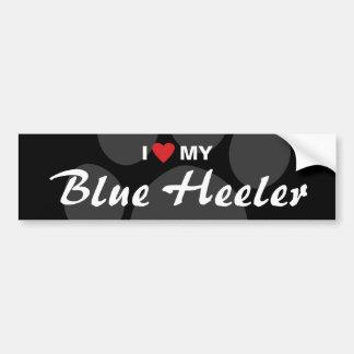 Amo (corazón) mi raza azul de Heeler Pegatina Para Auto