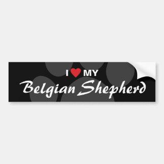Amo (corazón) mi raza belga del pastor pegatina para auto