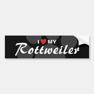 Amo (corazón) mi raza de Rottweiler (Rottie) Pegatina De Parachoque