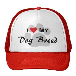 Amo (corazón) mi raza del perro/amantes del perro gorra