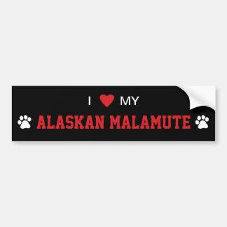 Amo (corazón) mi raza del perro del Malamute de Pegatina Para Auto