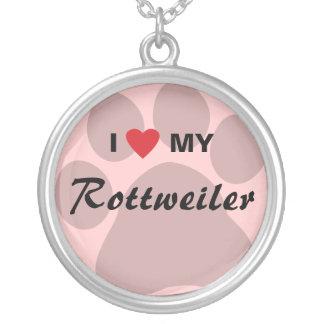 Amo (corazón) mi Rottweiler Pawprint Colgante Redondo