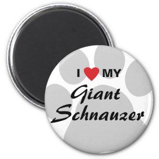 Amo (corazón) mi Schnauzer gigante Imán Redondo 5 Cm