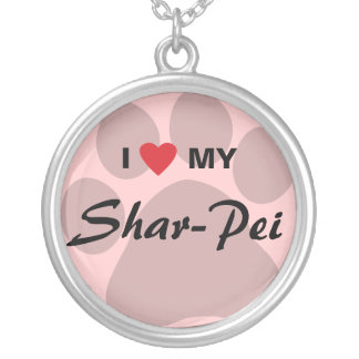 Amo (corazón) mi Shar-Pei Pawprint Colgante Redondo
