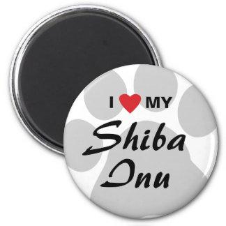 Amo (corazón) mi Shiba Inu Imán Redondo 5 Cm