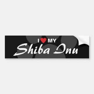 Amo (corazón) mi Shiba Inu Pegatina Para Auto