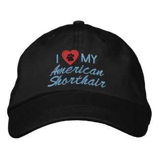 Amo (corazón) mi Shorthair americano Pawprint Gorras De Beisbol Bordadas