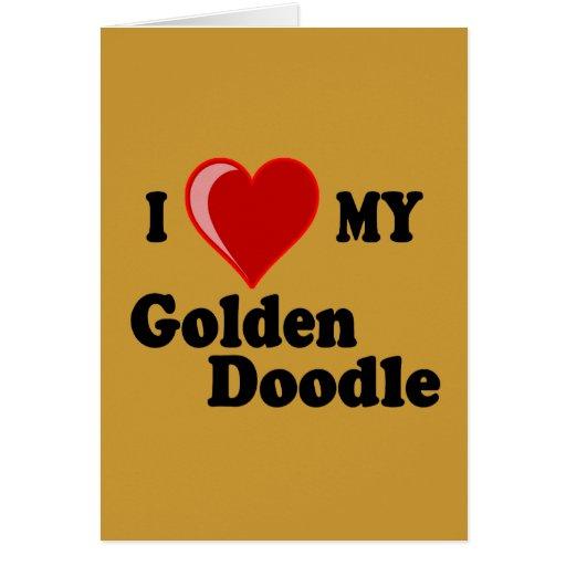 Amo (corazón) mi tarjeta de oro del perro del Dood