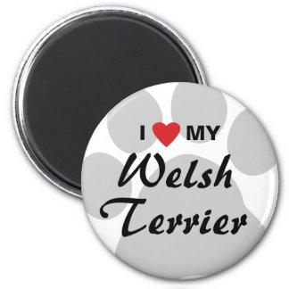 Amo (corazón) mi Terrier galés Imán Redondo 5 Cm