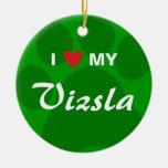 Amo (corazón) mi Vizsla Pawprint Ornamento Para Arbol De Navidad