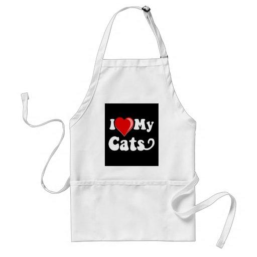 Amo (corazón) mis gatos delantal