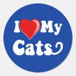 Amo (corazón) mis gatos etiquetas redondas