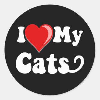 Amo (corazón) mis gatos pegatina redonda