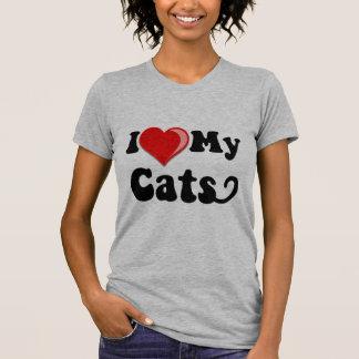 Amo (corazón) mis gatos tshirts