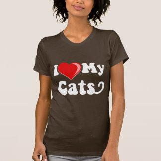 Amo (corazón) mis gatos camiseta