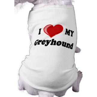 Amo (corazón) mis regalos del perro del galgo camiseta de perro