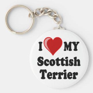 Amo corazón mis regalos escoceses del perro de T Llavero Personalizado