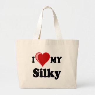 Amo (corazón) mis regalos sedosos del amante del p bolsa lienzo