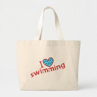 Amo (corazón) nadar bolsas de mano