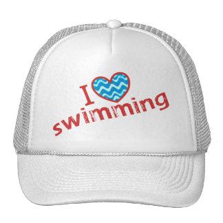 Amo (corazón) nadar gorras de camionero