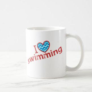 Amo corazón nadar tazas de café