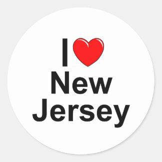 Amo (corazón) New Jersey Pegatinas Redondas