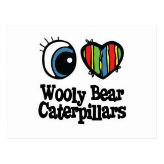 Amo (corazón) orugas lanosas del oso tarjeta postal