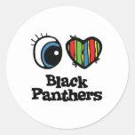Amo (corazón) panteras negras pegatina redonda