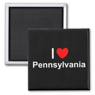 Amo (corazón) Pennsylvania Imán Cuadrado