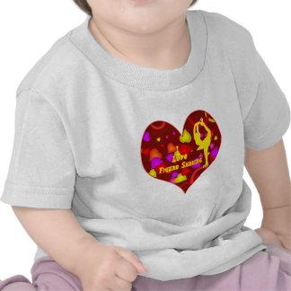 Amo corazón retro del diseño del patinaje artístic camisetas