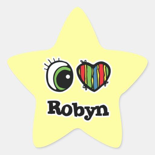 Amo (corazón) Robyn Pegatina En Forma De Estrella