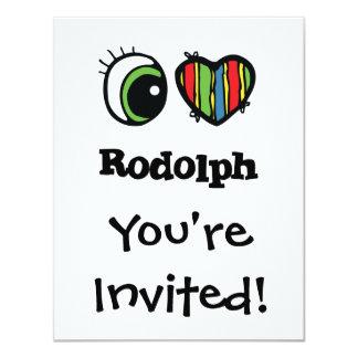 """Amo (corazón) Rodolph Invitación 4.25"""" X 5.5"""""""