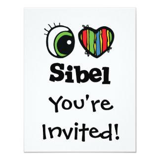 """Amo (corazón) Sibel Invitación 4.25"""" X 5.5"""""""