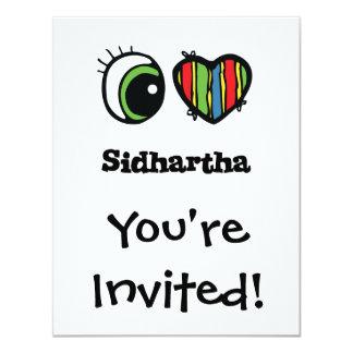 """Amo (corazón) Sidhartha Invitación 4.25"""" X 5.5"""""""