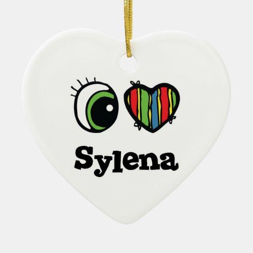 Amo (corazón) Sylena Adorno Navideño De Cerámica En Forma De Corazón