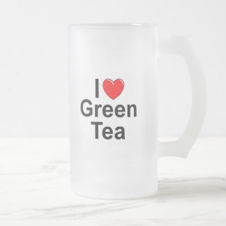 Amo (corazón) té verde taza de cristal
