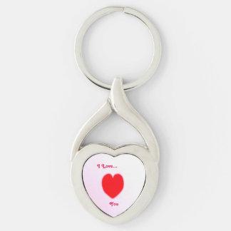 Amo… Corazón torcido Llavero Plateado En Forma De Corazón