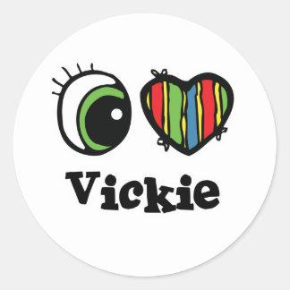 Amo (corazón) Vickie Pegatina Redonda
