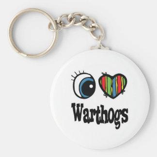 Amo (corazón) Warthogs Llavero Redondo Tipo Pin