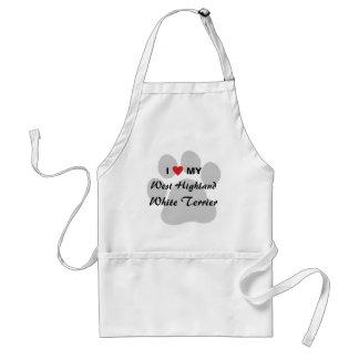 Amo (corazón) Westie Pawprint Delantal
